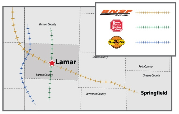 lamar missouri - railroad access